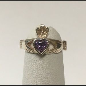 Sterling Silver Claddagh Ring with Amethyst